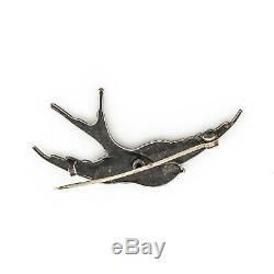 Antique Vintage Art Nouveau Sterling Silver 925 Figurative Sparrow Bird Brooch
