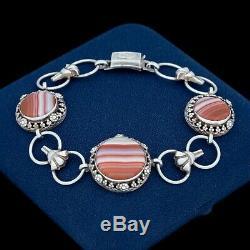 Antique Vintage Art Nouveau Sterling Silver 935 Gathered Riviere Agate Bracelet