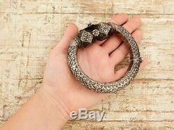 Antique Vintage Art Nouveau Sterling Silver Bedouin Yemeni Giant Bracelet