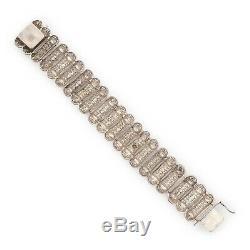 Antique Vintage Art Nouveau Sterling Silver Filigree Bracelet Link 800 Germany