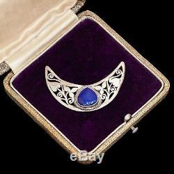 Antique Vintage Art Nouveau Sterling Silver Jugendstil Lapis Lazuli Brooch