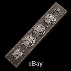 Antique Vintage Art Nouveau Sterling Silver Peacock Link Break Tennis Bracelet