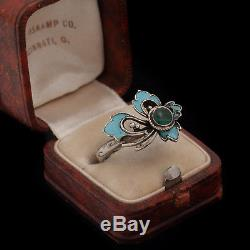 Antique Vintage Art Nouveau Sterling Silver Russian Filigree Enamelled Ring Sz 5.5
