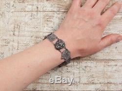 Antique Vintage Art Nouveau Sterling Silver Spanish 8 Reales Coin Bracelet