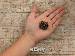 Antique Vintage Art Nouveau Sterling Silver Tiger Eye Seed Pearl Brooch