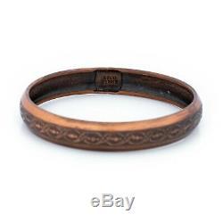 Antique Vintage Copper Art Nouveau Geometric Curling Leaf Bracelet