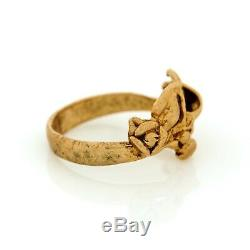 Antique Vintage New 9k Yellow Gold Arts & Crafts Floral Ring Pinky Sz 4.75
