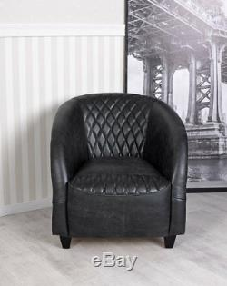 Armchair Leather Armchair Retro Vintage Sofa Art Deco Lounge Chair Relax