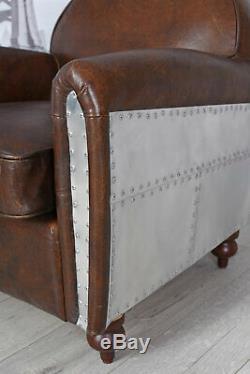 Armchair Leather Art Deco Aluminum Antique Airplane Club