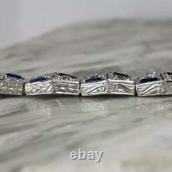 Art Deco 8.00 Ct Diamond Sapphire Vintage Bracelet Women's Bracelet 14k White Or On