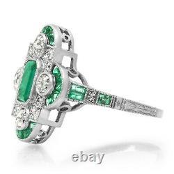 Art Deco Emerald Platinum Diamond Ring Antique Vintage Motif Certifié Naturel