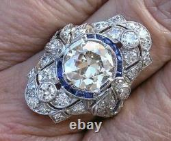 Art Deco Old Round Cup Vintage Engagement Ring 925 Sterling Silver