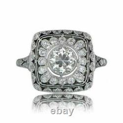 Art Deco Round Cup Antique Vintage Engagement Ring 925 Sterling Silver