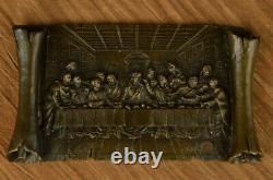 Art Deco Style! European Vintage Bronze Cross Crucifix The Last Supper End Deal