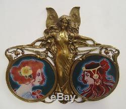 Art Nouveau Bronze Angel Sculpture Porcelain Plate Vintage Decor Gift