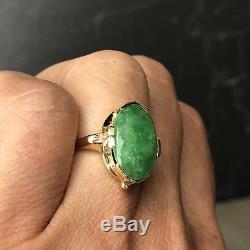 Art Nouveau Style 14k Yellow Gold Green Jadeite Jadeite Floral Vintage Navette Ring
