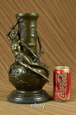 Art Nouveau Style Louis Auguste Moreau Vintage Reproduction Bronze Patina