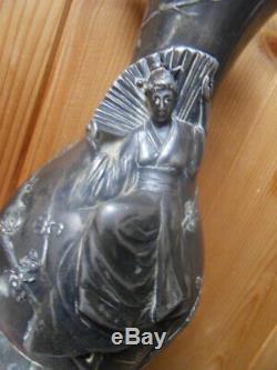 Art Nouveau Wmfb As Vase Vintage Candlestick Asian Geisha Japan Pewter Silver