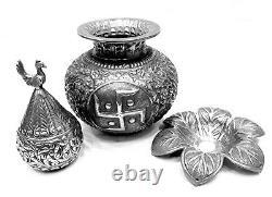 Art Vintage Creator Silver Pot Metal Sculpture House Decor Art 27.9cm