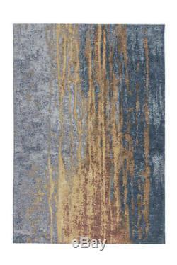 Arte Espina Rugs Modern Optics Worn Vintage Loft Blue Yellow Orange 195x290cm