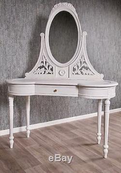 Baroque Dresser Antique White Solid Style Vanity Mirror Art Vintage Nine