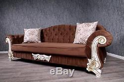 Baroque Sofa Braun Massif Antique Style Vintage Art Salon Poltermöbel