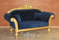 Baroque Sofa Chair Upholstered Furniture Antique Solid Style Vintage Art Blue