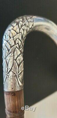 Beautiful Cane Walk Silver Art Nouveau. Vintage Sterling Silver Walking Stick