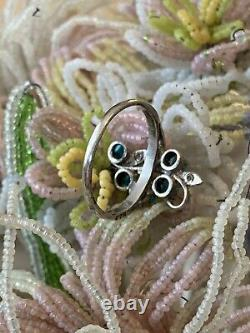 Beautiful Old Art Ring New Silver Turquoises Antique Vintage Silver Ring