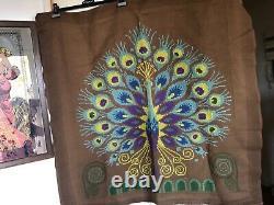 Beautiful Tapestry Canvas Bird Peacock Handmade Vintage 60/70 9994 CM