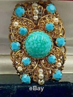 Beautiful Vintage Antique Art Nouveau Czech Czechoslovakia Gold Brooch Wash