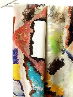 Big Foulard Square Silk Silk Abstract Art Multicolored State Neuf Hui-hui