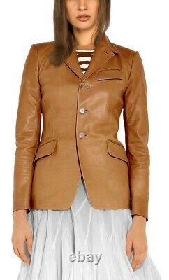 Blazer Jacket Leather Women Coat S Pattern Size Exterior Fauve Button Us 21