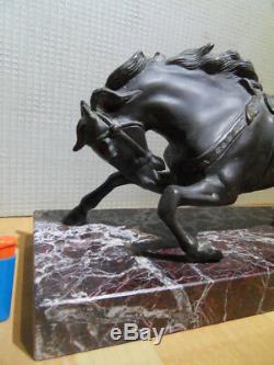 Bronze Statue Horse Art Nouveau Deco! Vintage Horse Bronze On Marble Base