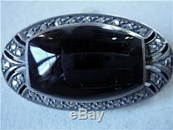 Brooch Onyx Silver Marcasite Art Deco Vintage New / Old New Silver Broch