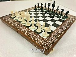 Camel Os Collector Vintage Hand Carved Chess Set Chroma Art Work Mahal