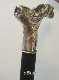 Cane Walk Silver Art Nouveau. Decor Knob Dog Vintage Sterling Silver