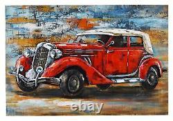 Car Square Vintage 3d Equipment Decoration Iron Plate Vintage Art Decor Inte