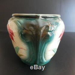 Ceramic Earthenware Pot Tulip Slip Container Vintage Art Nouveau N5914