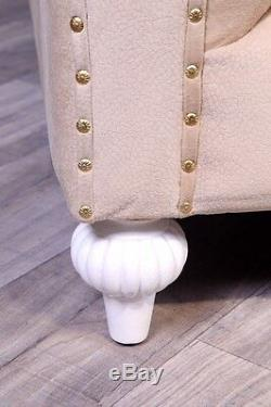 Chesterfield Sofa Empire Baroque Cream Beige Antique Style Vintage Art Massif