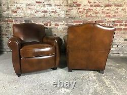 Club Club Chairs In Vintage Havana-style Leather Mustache