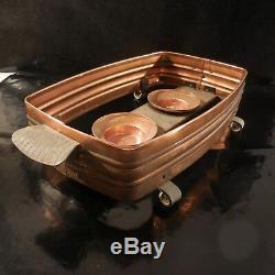 Copper Plate Warmer Vintage Bronze Art Nouveau Deco Design Twentieth France Pn N3075