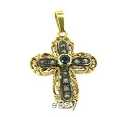 Crucifix In Old Fashion Vintage 18k Solid Gold Cross Diamonds And Sapphires