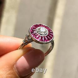 Diamond Ruby Platinum Ring Art Deco Hand Vintage Finish Antique Naturel