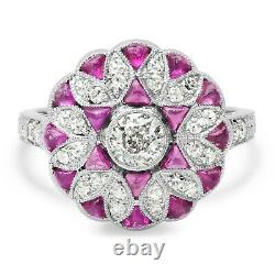 Diamond Ruby Platinum Ring Round Cup Art Deco Vintage Ancient Inspired Natural