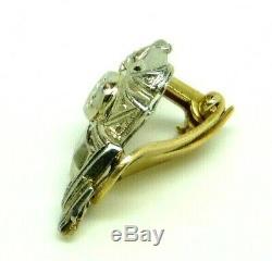 Earring In Art Nouveau Vintage Années'50 Massif Gold 18 Kt