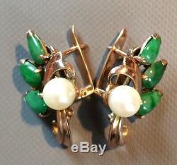 Earring Jade, Pearl, Gold, Art Nouveau Vintage, Jadeite Jade