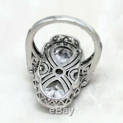 Edwardian Vintage Motif Art Deco Diamond Wedding Ring White Gold 9kt