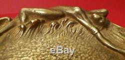 Empty Art Bronze Brass Pocket Ashtray New Woman Naked Old Vintage