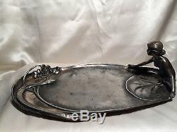 Empty Pockets Tray Art Nouveau 1900 Woman Serpent Nenuphar Vintage Metal Silver
